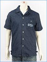 アビレックス タイプブルー デニム パッチワークシャツ ミリタリー AVIREX S/S TYPE BLUE DENIM PATCHWORK SHIRT 6185097-89