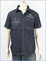 アビレックス タイプブルー デニム ワークシャツ ミリタリー AVIREX S/S TYPE BLUE DENIM WORK SHIRT 6185099-88