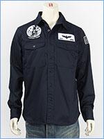 アビレックス パッチド ミリタリーシャツ AVIREX L/S PATCHED MIL. STRETCH SHIRT 6185108-87