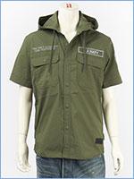 アビレックス フーデッドシャツ リフレクションパッチ AVIREX SS REFLECTION PATCHES HOODED SHIRT 6195097-75