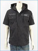 アビレックス フーデッドシャツ リフレクションパッチ AVIREX SS REFLECTION PATCHES HOODED SHIRT 6195097-809