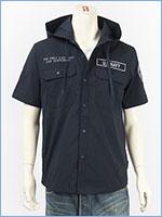 アビレックス フーデッドシャツ リフレクションパッチ AVIREX SS REFLECTION PATCHES HOODED SHIRT 6195097-87