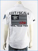 アビレックス タイプブルー シャンブレー ワークシャツ AVIREX TYPE BLUE SS CHAMBRAY WORK SHIRT SEALS 6195102-01