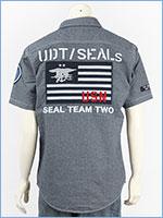アビレックス タイプブルー シャンブレー ワークシャツ AVIREX TYPE BLUE SS CHAMBRAY WORK SHIRT SEALS 6195102-88