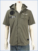 アビレックス フード ジップ シャツ ストレッチ AVIREX SS STRETCH HOOD ZIP SHIRT 6105092-75