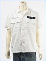 アビレックス タイプブルー ワークシャツ ステンシルプリント AVIREX TYPE BLUE SS WORK SHIRT SSN-571 6105099-01