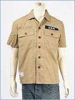 アビレックス タイプブルー ワークシャツ ステンシルプリント AVIREX TYPE BLUE SS WORK SHIRT SSN-571 6105099-53
