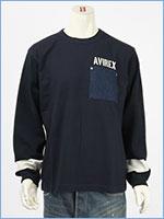 アビレックス タイプブルー 長袖 Tシャツ ベイクルー AVIREX TYPE BLUE LS BAY CREW T-SHIRT 6103551-88