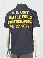 アビレックス 半袖・レザーパッチ・ジップシャツ ( AVIREX S/S LEATHER PATCH SHIRT 6105039-87 )