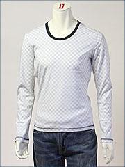 d-fy ( ディーエフワイ ) チェックプリント裏使い・Uネック L/S Tシャツ / 60/-シルケット ( D-1402-BLK )