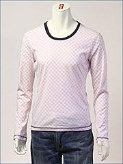d-fy ( ディーエフワイ ) チェックプリント裏使い・Uネック L/S Tシャツ / 60/-シルケット ( D-1402-RED )