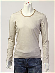 d-fy ( ディーエフワイ ) 千鳥格子プリント・Uネック L/S Tシャツ / 60/-シルケット ( D-1403-BE )