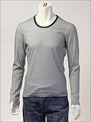 d-fy ( ディーエフワイ ) 千鳥格子プリント・Uネック L/S Tシャツ / 60/-シルケット ( D-1403-BLK )