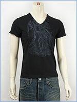 d-fy ディーエフワイ 半袖 シルバープリント VネックTシャツ d-fy S/S V-NECK TEE SILVER PRINT d-8109-blk