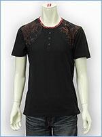 空 半袖 ヘンリーネック Tシャツ タトゥー KU USA S/S HENLEY NECK TEE SHIRT 517355-09