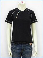 空 半袖 変形ヘンリーネック レディース Tシャツ KU USA S/S LADIES TEE SHIRT 517378-09