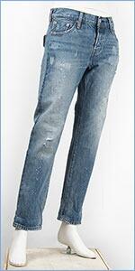 リーバイス レディース Levi's 501CT ボタンフライ オリジナル カスタマイズド&テーパード 13oz.デニム ダーン&ダスト(ダメージ+リペア) Levi's 501 Jeans for Women 17804-0064