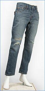 リーバイス レディース Levi's 501CT ボタンフライ オリジナル カスタマイズド&テーパード 9.5oz.デニム ブルーイリュージョン(ダメージ+リペア) Levi's 501 Jeans for Women 17804-0072