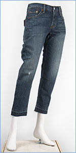 リーバイス レディース Levi's 501CT ボタンフライ オリジナル カスタマイズド&テーパード 10.5oz.デニム オニキスマウンテン(ダークユーズド ダメージ カットオフ) Levi's 501 Jeans for Women 17804-0033