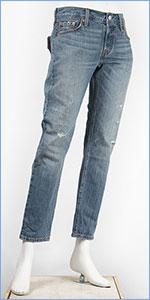 リーバイス レディース Levi's 501CT ボタンフライ オリジナル カスタマイズド&テーパード 10.5oz.デニム オペークインディゴ(ダメージユーズド) Levi's 501 Jeans for Women 17804-0035