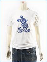 ディズニー ミッキーマウス 半袖 Tシャツ トロピカルプリント シルエットパッチ Disney S/S MICKEY MOUSE T-SHIRT PATCHED GU721068R-001