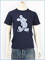ディズニー ミッキーマウス 半袖 Tシャツ トロピカルプリント シルエットパッチ Disney S/S MICKEY MOUSE T-SHIRT PATCHED GU721068R-801