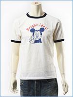 ディズニー ミッキーマウス 半袖 プリント Tシャツ リンガー Disney S/S MICKEY MOUSE PRINT T-SHIRT RINGER GU721070R-001