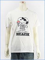 ピーナッツ スヌーピー 半袖 プリント Tシャツ ビーチデザイン PEANUTS S/S SNOOPY PRINT T-SHIRT GU821076R-001