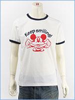 ディズニー ミッキーマウス 半袖 プリント Tシャツ リンガー Disney S/S MICKEY MOUSE PRINT T-SHIRT GU821077R-001