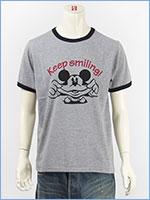 ディズニー ミッキーマウス 半袖 プリント Tシャツ リンガー Disney S/S MICKEY MOUSE PRINT T-SHIRT GU821077R-206