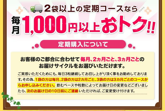 2袋以上の定期コースなら毎月1,000円以上おトク!!