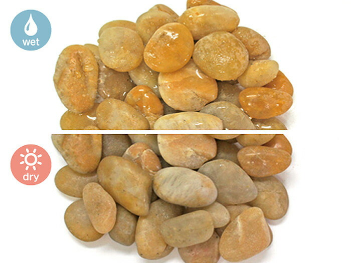玉砂利,黄,磨き玉砂利,黄磨き玉砂利,濡れた乾いた状態