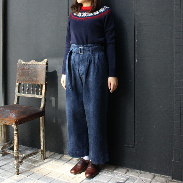 R&D.M.Co- OLD DENIM HIGH WAIST PANTS (no.2722)