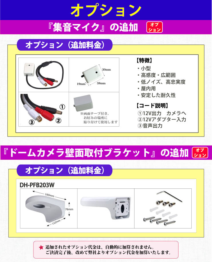 オプション(集音マイク・ドーム用ブラケット)