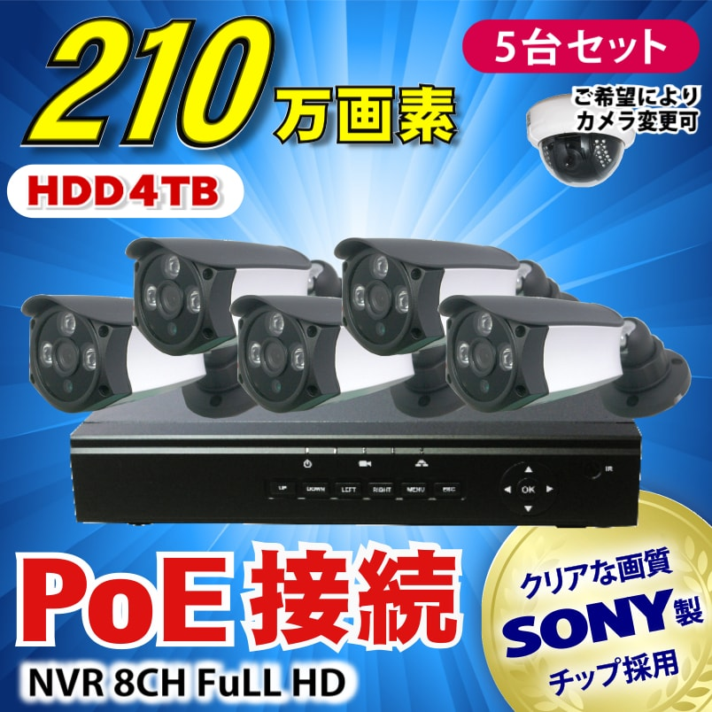 カメラ、レコーダーセット(PoE)