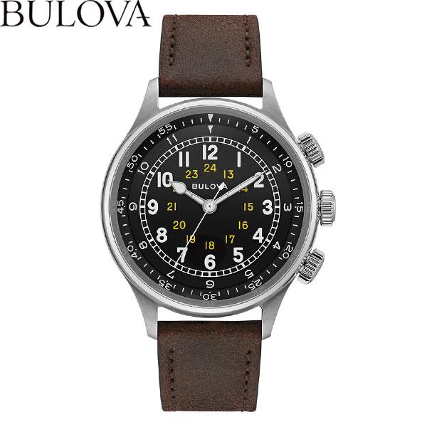 【無金利ローン可】 ブローバ [BULOVA] ミリタリー [Miitary] メンズ 腕時計 自動巻 機械式 革ベルト ブラック ブラウン 96A245