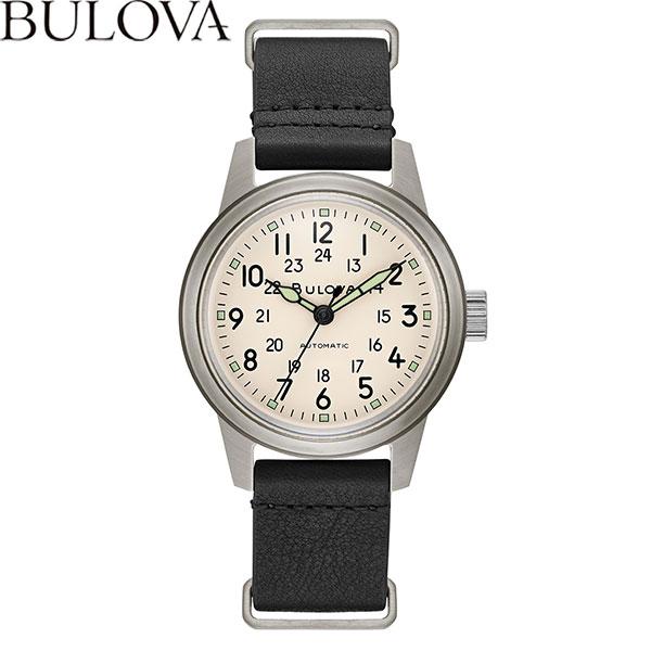 【無金利ローン可】 ブローバ [BULOVA] ミリタリー [Miitary] メンズ 腕時計 自動巻 機械式 革ベルト ベージュ ブラック 96A246