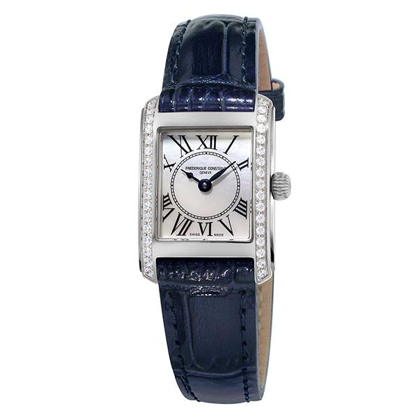 【無金利ローン可】【3年間無料点検付】 フレデリックコンスタント [FREDERIQUE CONSTANT] クラシック FC-200MPWCD16 ダイヤ マザーオブパール レザー 長方形 レディース 高級 腕時計