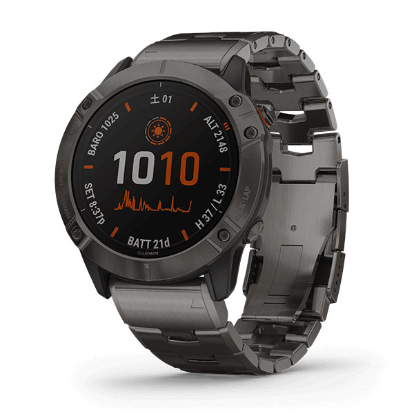 Fenix 6X Pro Dual Power Ti Black DLC Titanium band