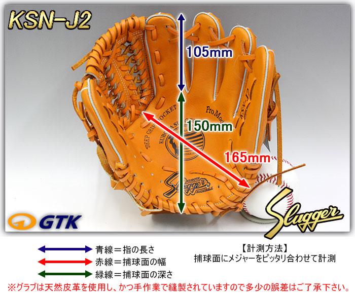 少年軟式用グローブ サイズ表 KSN-J2