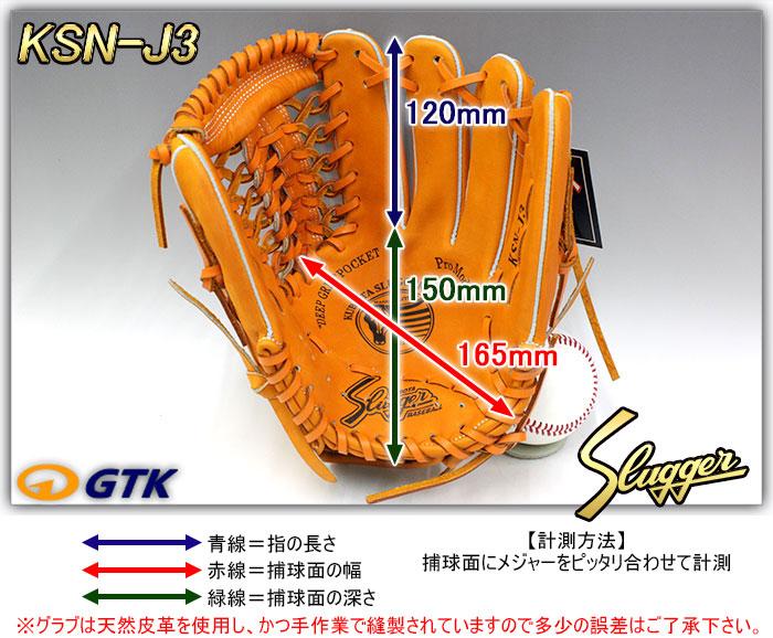少年軟式用グローブ サイズ表 KSN-J3
