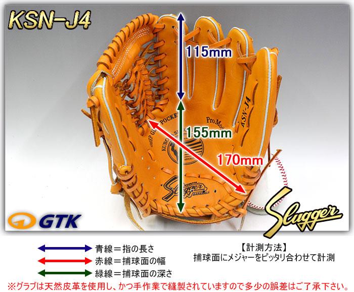 少年軟式用グローブ サイズ表 KSN-J4