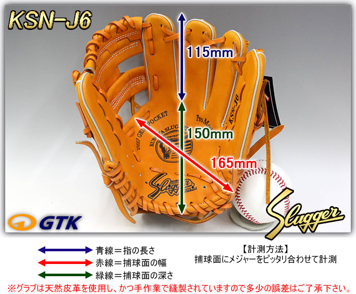 少年軟式用グローブ サイズ表 KSN-J6