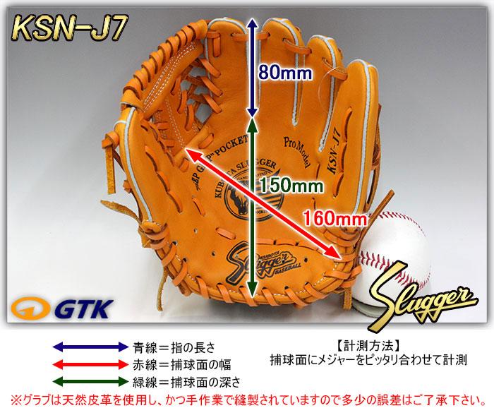 少年軟式用グローブ サイズ表 KSN-J7
