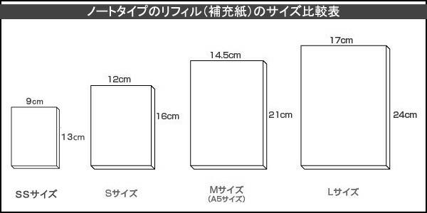 ノートタイプ・リフィルのサイズ比較表