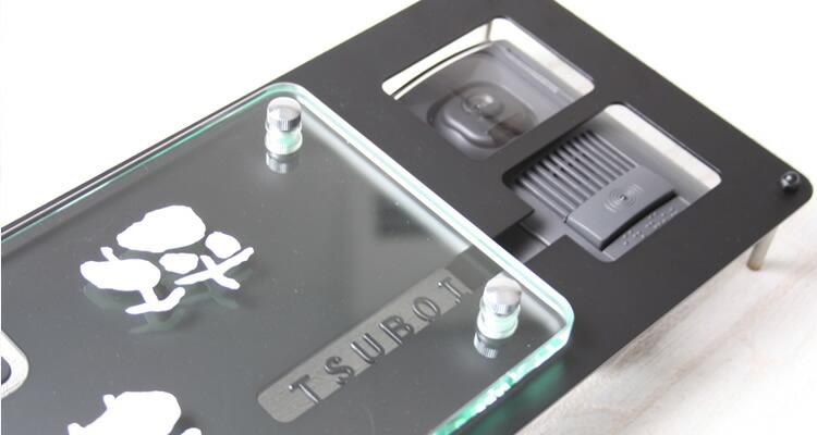 インターホンカバー表札フラットガラスGシリーズ付き「モダンワーク」