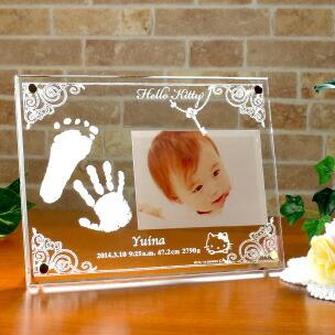 ハローキティ名入れ手形足形メモリアルフォトフレーム彫刻タイプ