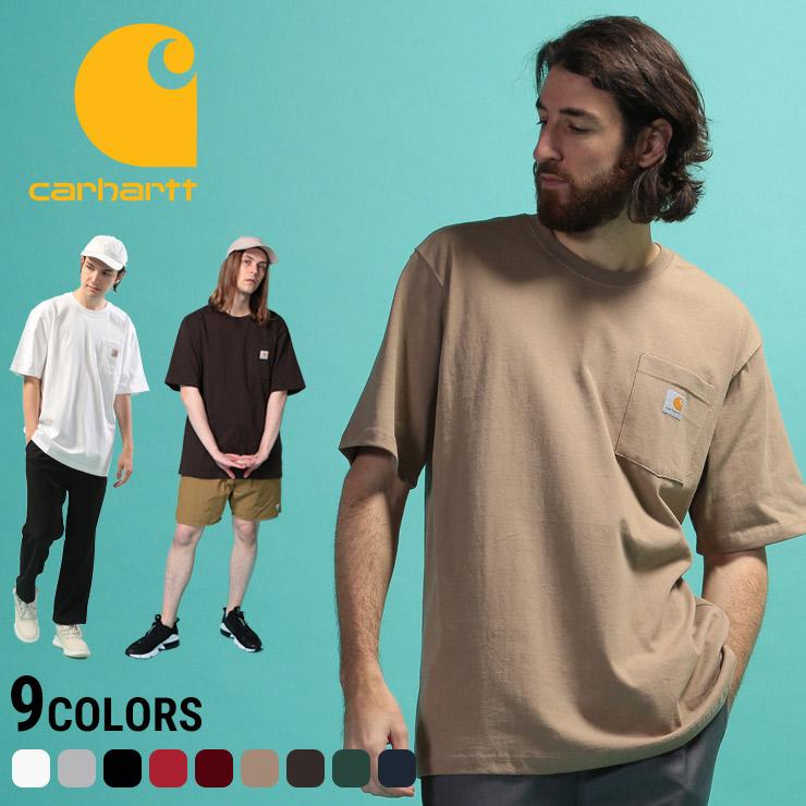 カーハート Tシャツ Carhartt 無地 ロゴ ポケット付き クルーネック 半袖 Tシャツ オーバーサイズ ユニセックス