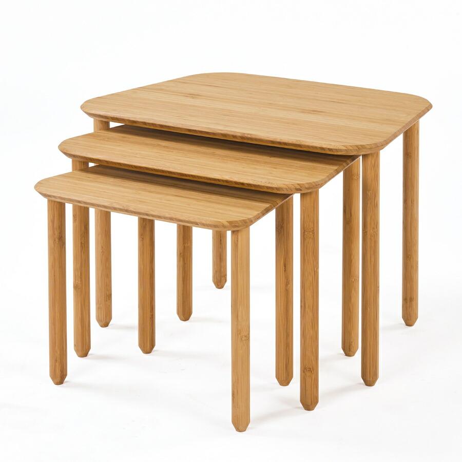 【正規品】TEORI テオリ ネストテーブル センターテーブル サイドテーブル 竹集成材 台形 幅65/55/45cm T-NT/t-nt