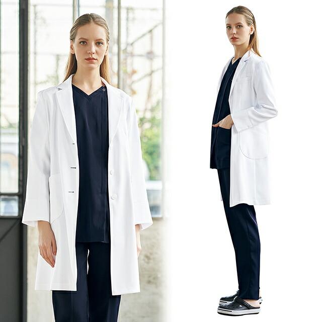 2537SG フォーク 診察衣 シングルボタン 女性用 長袖